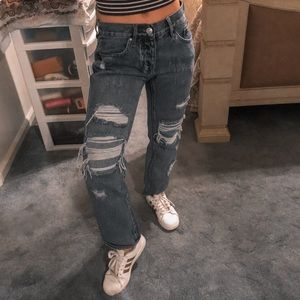 Faux Distressed Boyfriend Jeans | Pac Sun